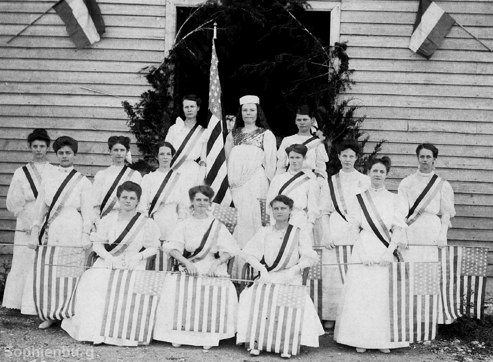 Liberty and the 13 Colonies July 4th Celebration in 1906 at Teutonia Hall. Top row from left: Hilda Baus, Ellie Rompel and Emma Meyer. Middle row from left: Hulda Reeh, Elvira Rohde, Hilda Dietert, Elfrieda Tausch, Sophie Luersen, Meta Reeh, Stella Soechting and Olga Kraft. Seated from left: Else Simon, Erna Hoeke and Else Rose.