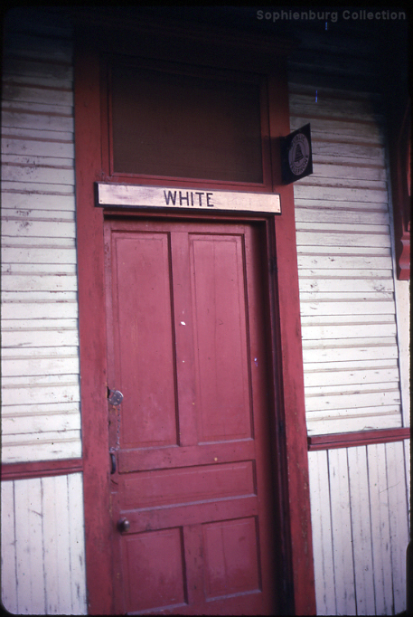"Photo: ""WHITE"" sign in original location on Katy Depot, 1969."