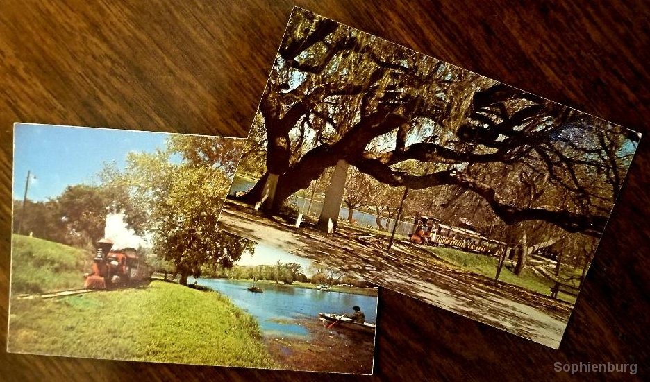 1970s-vintage post cards of the Landa Park train