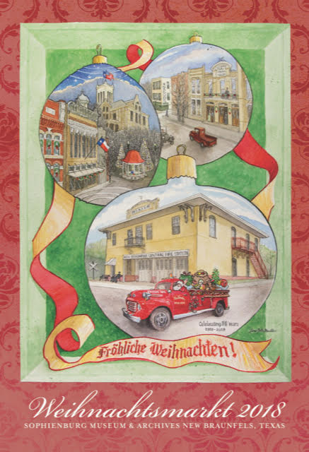 Weihnachtsmarkt poster by Jane Felts Malden celebrates the 30th Weihnachtsmarkt while paying homage to the 100 year old New Braunfels Fire Station on Hill Avenue. The Christmas Market opens November 16-18 in the New Braunfels Convention & Civic Center benefiting the Sophienburg Museum & Archives.