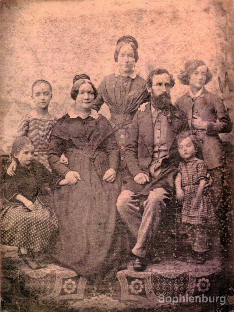 The Ernst Kapp family circa 1849. Front row L-R: Hedwig, Mrs. Ida Kapp, Dr. Ernst Kapp, Wofgang. Back row: Julie, Antonie, Alfred.