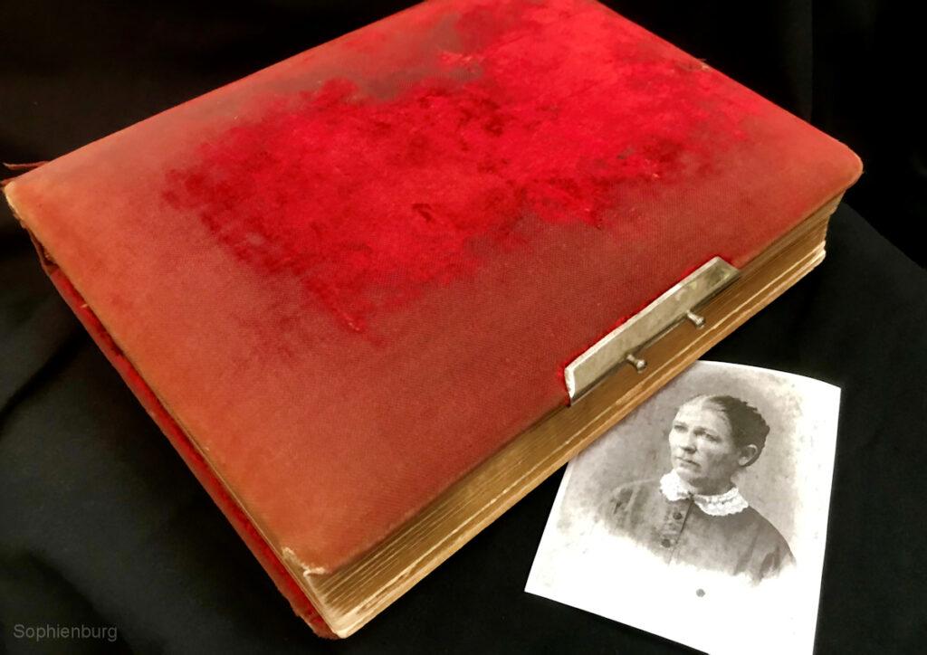 Orphaned velvet-covered photo album belonging to Ida Heine circa 1887. Inset of August E. Wiegreffe.