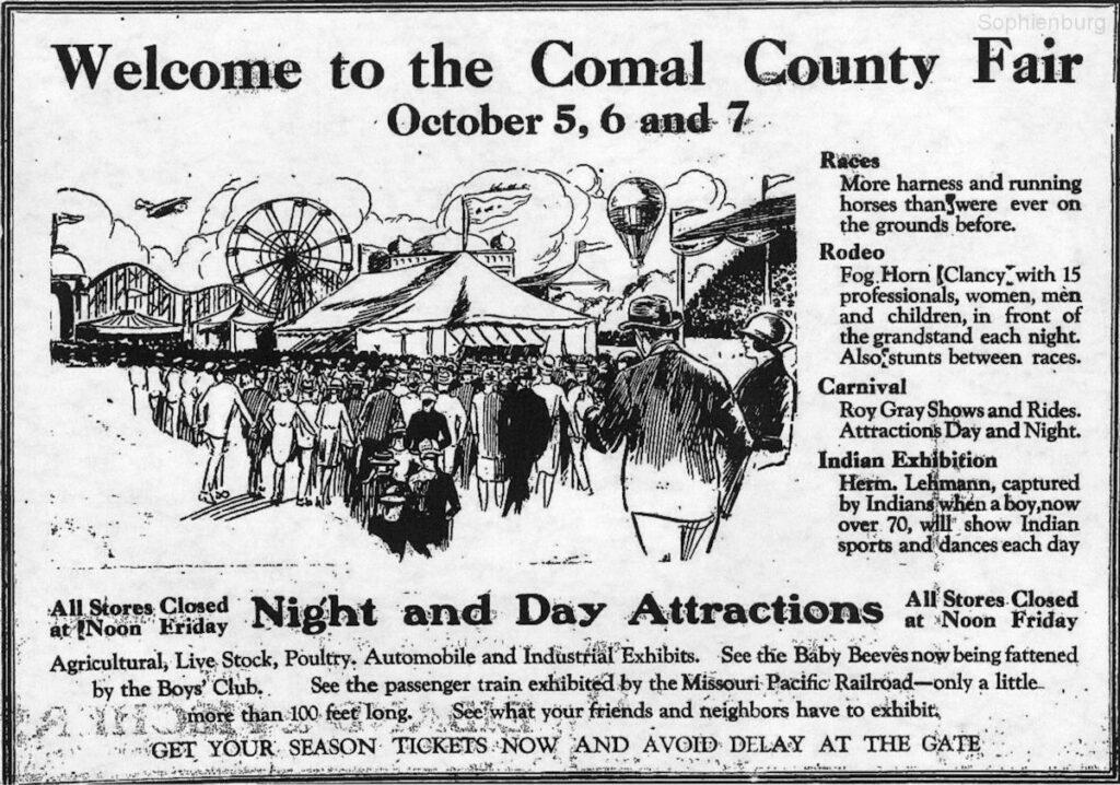Comal County Fair advertisement, New Braunfels Herald, Sept. 28, 1928.