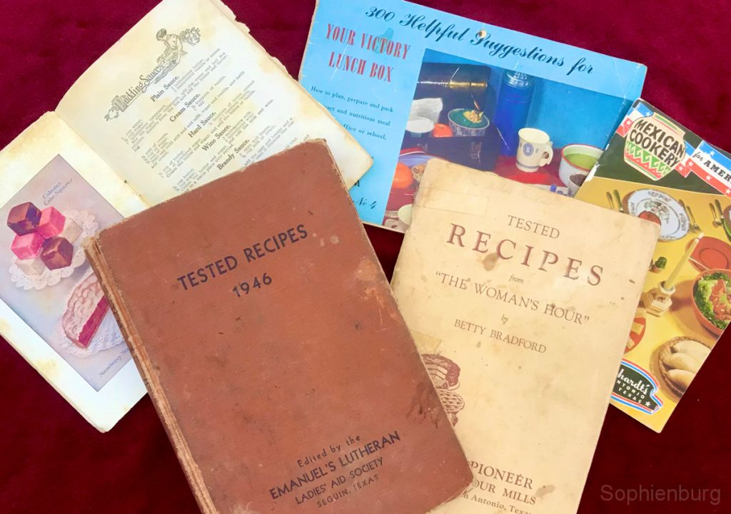 "Photo Caption: Calument Baking Powder Recipes (1911); Tested Recipes 1946, Emanual Lutheran Church Ladies Aid Society (1946); Your Victory Lunch Box (1943); Tested Recipes from the Woman's Hour"" by Pioneer Flour Mills (circa 1949); Mexican Cookery – Gebhardt's, San Antonio, Texas (1949)"